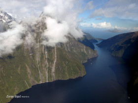 Milford Sound From The Air, South Island, New Zealand