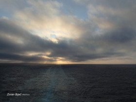 The Midnight Sun Behind Clouds, Far, Far At The North, Svalbard, Norway