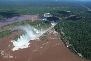 Flight Over Fascinating Iguazu Falls, One Of Seven Natural Wonders Of The World, Argentina/Parana-Brazil