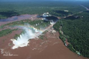 Flight Over Fascinating Iguazu Falls, One Of Seven Natural Wonders Of The World, Argentina/Parana-Brazil