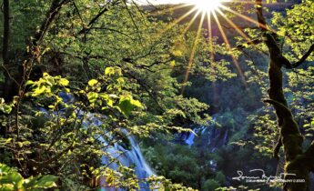 Early Morning on the Top of the Big Waterfall, Plitvice Lakes, Lika, Croatia